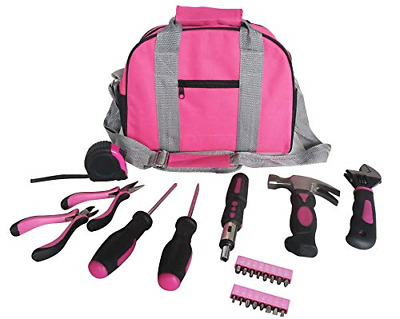 Ladies Pink Tool Kit Tool Bag DIY Set Includes Pink Hammer, Pink Pliers, Pink In • 23.80£