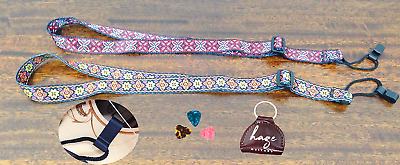 AU13 • Buy Haze Adjustable Nylon Ukulele Strap Colored Design W Hook Free Pick Hold 3 Picks