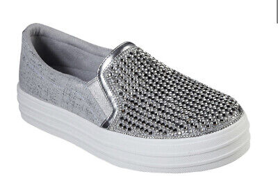 BRS* Skechers Womens DOUBLE UP - DIAMOND EYEZ Silver Slip On Shoes UK 3/EU 36 • 42.74£