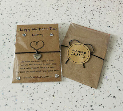 £1.99 • Buy Personalised Nanny Wish Bracelet. Mother's Day Gift. Heart Charm. Nanny Gift.