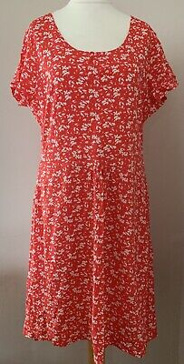 Mountain Warehouse Womens Red White Floral Comfy Fit And Flare Tea Dress Size 18 • 12.99£