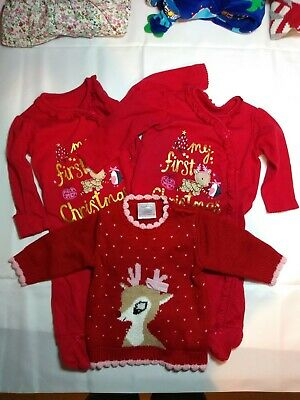Baby Girl Christmas Bundle Of 2 Sleepsuits And Christmas Jumper Age 0-3 Months • 5.50£