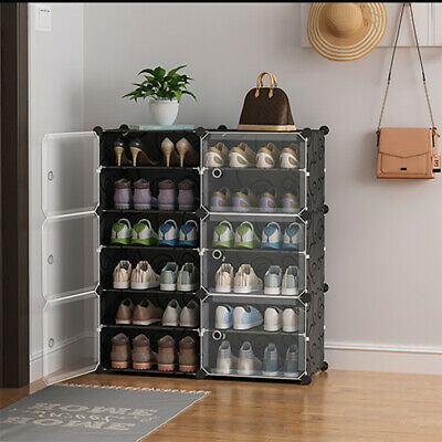 AU63.99 • Buy Cube Cabinet DIY Shoe Storage Cabinet Organiser Rack Shelf Stackable 6/8/10 Tier