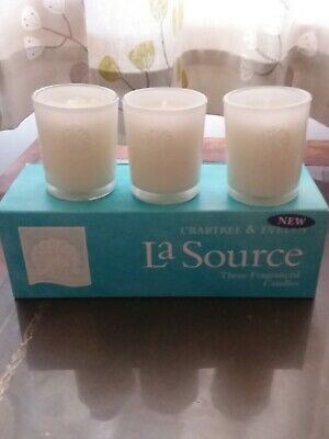 Crabtree And Evelyn La Source, 3 Candles, New In Box  • 36£