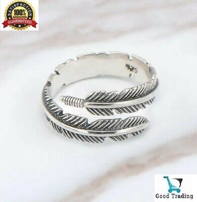 925 Sterling Silver Plated Leaf Feather Ring Sizeable Adjustable Wrap Men Women • 3.99£