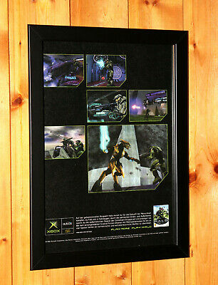 £39.99 • Buy 2002 Halo Combat Evolved Rare Small Poster / Vintage Ad Page Framed Xbox