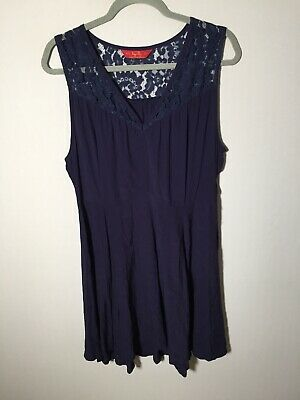 AU29.95 • Buy Tigerlily Womens Navy Blue Fit And Flare Dress Size 14 Sleeveless With Lace Trim