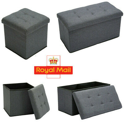 Grey Linen Folding Storage Ottoman Pouffe Seat Foot Stool Home Storage Box Uk • 12.98£