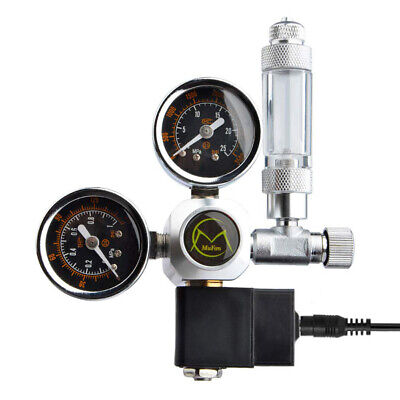 Dual Gauge Aquarium CO2 Regulator W/ Solenoid Bubble Counter W21.8 EU Plug UK • 48.77£
