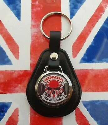 Honda Motorcycles Skull Gs Fireblade Rc Biker Japanese Quality Leather Keyring • 4.89£