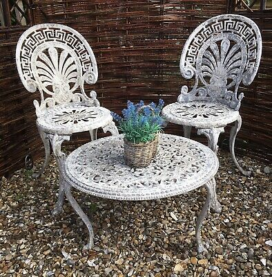 Ornate Cast Aluminium Country Garden Chic Victorian Style Chairs & Table • 140£