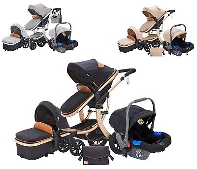 STURDY 3 In 1 Travel System Combi Stroller Buggy Baby Pushchair Pram Carrycot • 159.99£