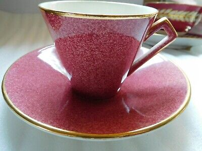 $ CDN15 • Buy Royal Winton Grimwades Speckled Red Art Deco Tea Cup And Saucer
