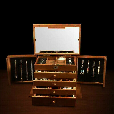 Wooden Large Jewellery Box Chest Drawer Rings Storage Organiser Cabinet Vintage • 61.91£