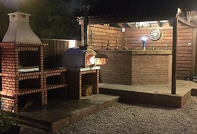 £1900 • Buy Brick Masonry Mediterranean BBQ With Wood Fired Pizza Oven, 3.03M Long 2.5m High
