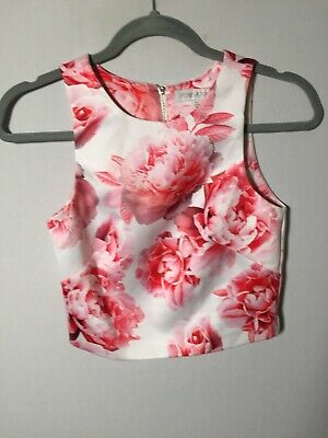 AU21.95 • Buy Forever New Womens White And Pink Floral Crop Top Size 4 Sleeveless Good Condt