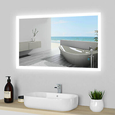 LED Illuminated Bathroom Mirror Lights Touch Switch Demister Pad Wall Hang IP44 • 64.99£