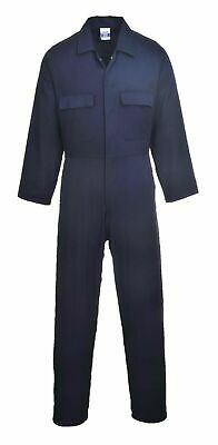 Portwest Euro Work Cotton Coverall Side Elastic Pocket Stud Front New Rapid Post • 13.95£
