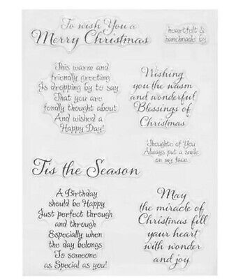 7 Christmas Messages Clear Stamps/xmas/birthday Sentiments Words Statements Card • 5.50£