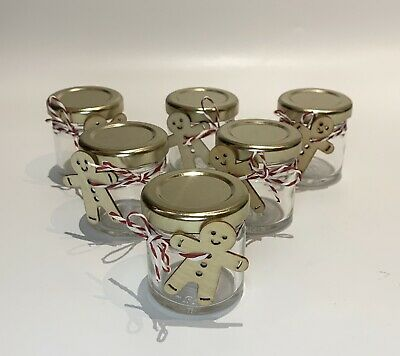 £60 • Buy 6 Small Sweet Jam Jars Christmas Gingerbread Man Table Decoration Thank You Gift