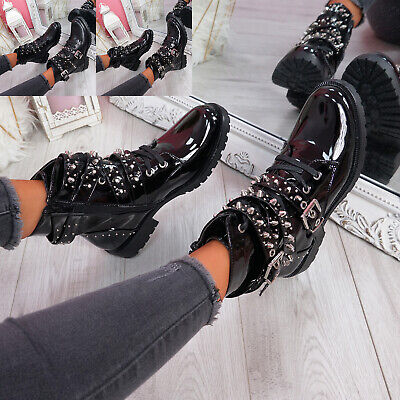 Womens Ladies Zip Ankle Biker Boots Studded Winter Fashion Women Shoes Size • 20.99£