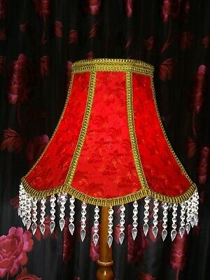 Lge 22  Victorian Vintage Red Lace Gold Glass Standard Floor Lampshade Handmade • 165£