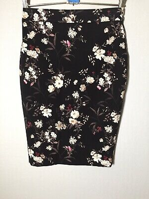 AU21.05 • Buy Forever New Women's Black Floral Pencil Skirt Size 6 W25 Inch Cotton Blend