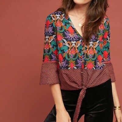 $ CDN25.05 • Buy Anthropologie Maeve Carter Floral Tie Front Top Size 14