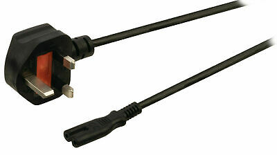 £3.95 • Buy Power Cord UK 3 Pin Plug To C7 Figure 8 Power Lead Fig 8 Power Cable TV Mains 1m