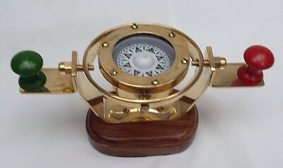 Nautical Marine Gimballed Ship Solid Brass Bridge Compass On Wooden Stand - Gift • 22.99£