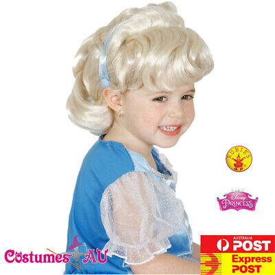 Licensed Girls Cinderella Wig Disney Princess Fairy Tale Child Kids Book Week • 7£