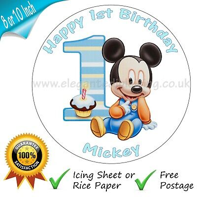 £5.25 • Buy Baby Mickey Mouse 1st Birthday Cake Personalised Edible Round Cake Topper