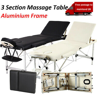 Portable 3 Fold Massage Table Beauty Bed Massage Therapy Couch Facial SPA BLK/WT • 72.99£