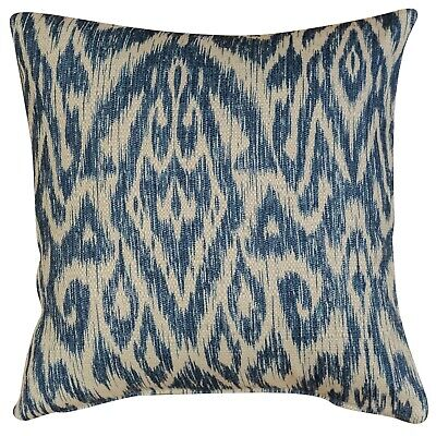 Textured Linen Blend Abstract Ikat Cushion In Marine Blue. 17x17 . Double Sided. • 12.99£