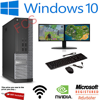 ULTRA FAST Gaming PC Bundle Intel Core I7 16GB 1TB Windows 10 GT710 DUAL SCREEN • 358.99£
