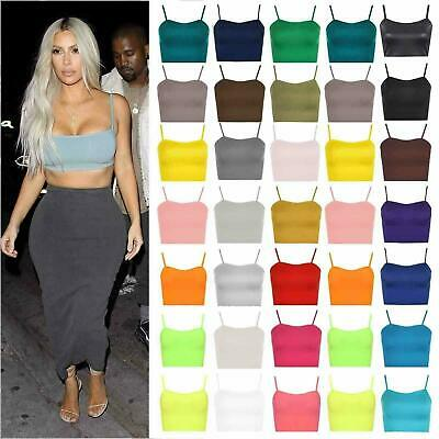 New Womens Sleeveless Strappy Vest Plain Camisole Boob Tube Bralet Crop Top • 3.99£