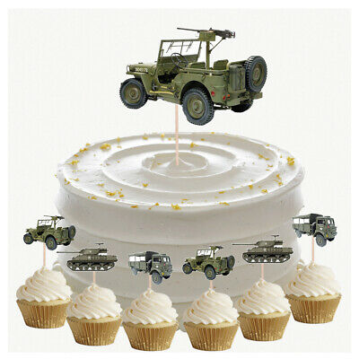 £4.99 • Buy Army Vehicles Birthday Cupcake & Party Food Toppers Decorations Picks 14 Pack