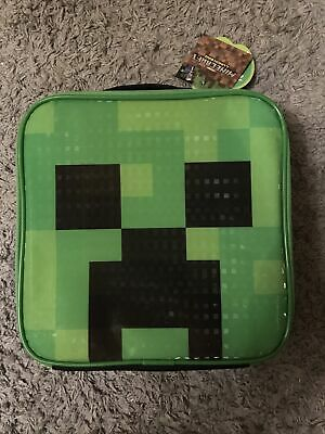 Minecraft Creeper Face Kids Lunch Box School Food Container Children's Bag BNWT • 13.99£