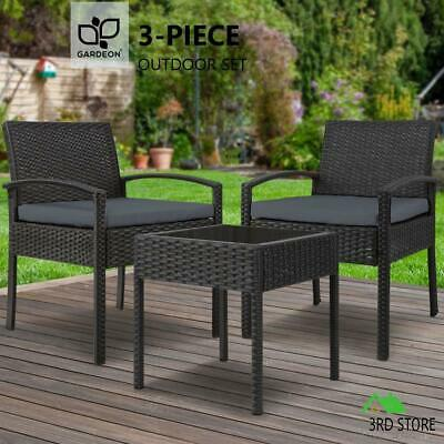 AU180.83 • Buy Gardeon Patio Furniture 3 Piece Wicker Outdoor Lounge Setting Rattan Set Cushion