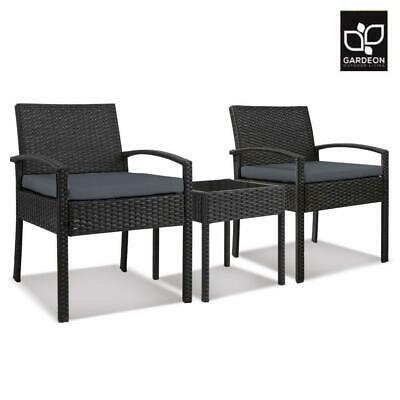 AU144.50 • Buy Gardeon Patio Furniture 3 Piece Wicker Outdoor Lounge Setting Rattan Set Cushion