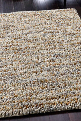 New Grey Gold Beige Scandi Rug Pebble Jellybean Pure 100% Felted Wool • 99.99£