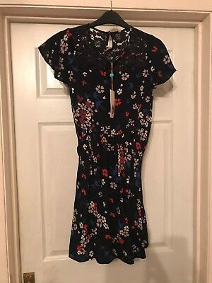Girls Dress Black With Floral/ Bird Print Age 13-14 Yumi New With Tags  • 20.99£
