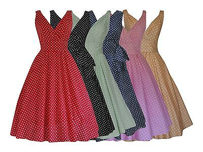 Polka Dot Vintage Retro 40s 50s Full Circle Belted Cotton Dress BNWT Size 8 - 20 • 26.99£