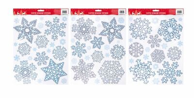 £2.49 • Buy Glitter Snowflake Self Adhesive Window Stickers Assorted Sparkly Christmas Gifts