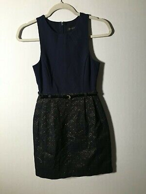 AU24.99 • Buy Forever New Women's Navy Black Belted Fit And Flare Dress Size 6 Viscose Blend