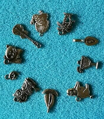 The Owl And The Pussy-cat Theme Set Of 10 Charms. Silver Tone • 3.99£