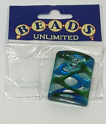 £1 • Buy Beads Unlimited Large Glass Rectangle Ice Blue Pendant/ Charm/ Jewellery Making