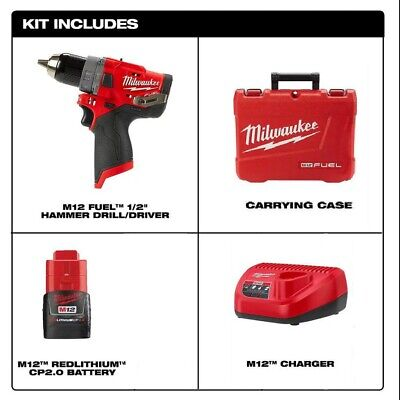 Milwaukee 2504-20 M12 Fuel Brushless 1/2 In. Hammer Drill & 2.0Ah Battery, Case  • 105.86£