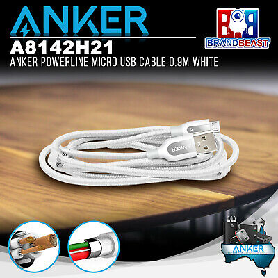 AU12.75 • Buy Anker A8142H21 PowerLine+ Micro 0.9m Android Smartphones USB Cable W Pouch White