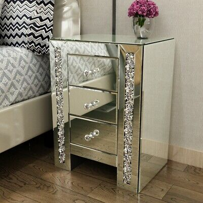 £129 • Buy Nightstand Mirrored Bedside Tables Cabinet 3 Drawers Side Storage Table Home UK